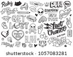 a set of graffiti doodles... | Shutterstock .eps vector #1057083281
