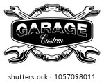 garage emblem with motorcycle... | Shutterstock .eps vector #1057098011