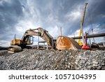 heavy duty industrial excavator ... | Shutterstock . vector #1057104395