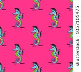 quirky seahorse seamless... | Shutterstock .eps vector #1057105475