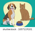 happy pats sharing food bowl... | Shutterstock .eps vector #1057119101