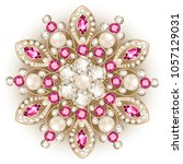 mandala brooch jewelry  design... | Shutterstock .eps vector #1057129031