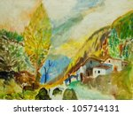 landscape in mountains Pyrenees, painting, illustration - stock photo