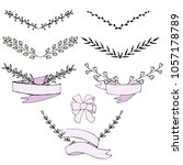 set of hand drawn laurel wreaths | Shutterstock .eps vector #1057178789