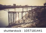 wooden pontoons on the auzance... | Shutterstock . vector #1057181441