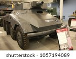 Small photo of BOVINGTON, DORSET, UK - JULY 7, 2012: German Sd Kfz 234/3 Schwerer heavy armoured car, on display at the Bovington Tank Museum in Dorset.