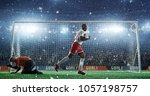 soccer game moment  on... | Shutterstock . vector #1057198757