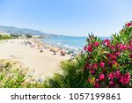 a view over the romana beach in ... | Shutterstock . vector #1057199861