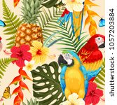 seamless macaw  pineapple and... | Shutterstock .eps vector #1057203884
