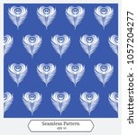 seamless pattern with peacocks... | Shutterstock .eps vector #1057204277