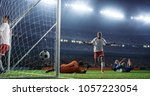 soccer game moment  on... | Shutterstock . vector #1057223054
