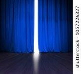 theater blue curtain slightly... | Shutterstock . vector #1057226327