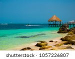 pier and wooden gazebo by the... | Shutterstock . vector #1057226807