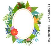 badge with tropical flowers and ...   Shutterstock .eps vector #1057228781