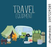 set of travel equipment.... | Shutterstock .eps vector #1057229285