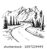 sketch of a landscape with a... | Shutterstock .eps vector #1057229495