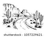 sketch of the desert of america ...   Shutterstock .eps vector #1057229621