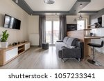 modern studio flat with dropped ... | Shutterstock . vector #1057233341