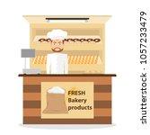 shop bakery  baker sells... | Shutterstock .eps vector #1057233479