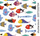 hand drawn various fish....   Shutterstock .eps vector #1057233704