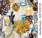 abstract floral elements paper... | Shutterstock . vector #1057235729
