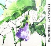 pansy flower. acrylic sketch.... | Shutterstock . vector #1057243511