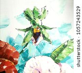pansy flower. acrylic sketch.... | Shutterstock . vector #1057243529