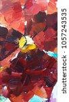 pansy flower. acrylic sketch.... | Shutterstock . vector #1057243535