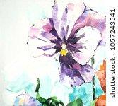 pansy flower. acrylic sketch.... | Shutterstock . vector #1057243541