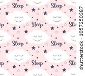 seamless pattern with smiling... | Shutterstock .eps vector #1057250387