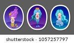 set of cute little mermaids on... | Shutterstock .eps vector #1057257797