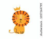 Stock vector hand drawn vector illustration of a cute funny lion in a crown isolated objects scandinavian 1057264799