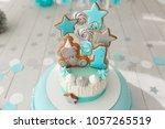 baby birthday cake  gingerbread ... | Shutterstock . vector #1057265519
