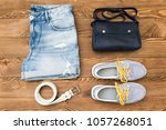 set of stylish summer clothes... | Shutterstock . vector #1057268051