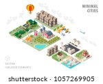 set of isolated isometric... | Shutterstock .eps vector #1057269905