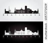 bratislava skyline and... | Shutterstock .eps vector #1057272029