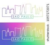 sao paulo skyline. colorful... | Shutterstock .eps vector #1057272071