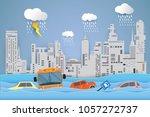 flooding water in city   rain...