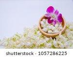 top view  jasmines  orchid in... | Shutterstock . vector #1057286225