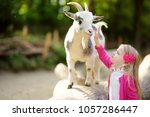 cute little girl petting and... | Shutterstock . vector #1057286447