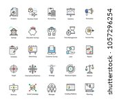 colored line icons of business... | Shutterstock .eps vector #1057296254