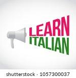 learn italian loudspeaker... | Shutterstock .eps vector #1057300037