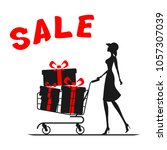 sale. girl with a shopping cart ...   Shutterstock .eps vector #1057307039