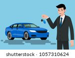 a happy businessman  vehicle... | Shutterstock .eps vector #1057310624