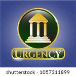 gold badge with bank icon and... | Shutterstock .eps vector #1057311899