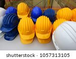 blue  yellow and white helmets... | Shutterstock . vector #1057313105