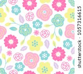 seamless pattern with flowers... | Shutterstock .eps vector #1057316615