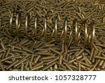 closeup shiny golden galvanized ... | Shutterstock . vector #1057328777