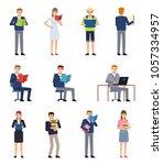 various people reading books.... | Shutterstock .eps vector #1057334957