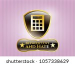 gold shiny emblem with... | Shutterstock .eps vector #1057338629